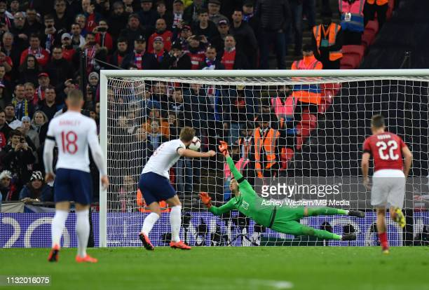 England's Harry Kane scores his side's second goal from the penalty spot past Czech Republic Jiri Pavlenka during the 2020 UEFA European...