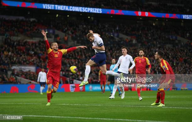 England's Harry Kane with a header towards goal during the UEFA Euro 2020 qualifier between England and Montenegro at Wembley Stadium on November 14...