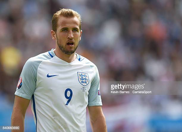 England's Harry Kaneduring the UEFA Euro 2016 Group B match between England and Wales at Stade Bollaert-Delelis on June 16 in Lens Agglo, France.