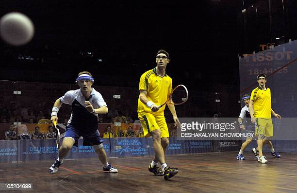 England's Harry Leitch watches the ball while playing mens doubles with his partner Alan Clyne against Australian pair David Palmer and Stewart...