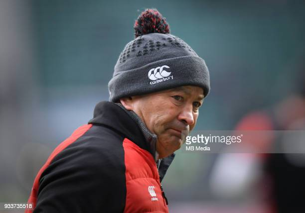 England's Head Coach Eddie Jones during the pre match warm up before the NatWest Six Nations Championship match between England and Ireland at...