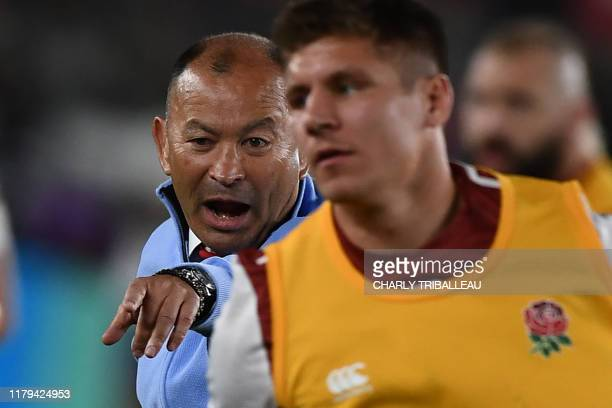 England's head coach Eddie Jones gestures before the Japan 2019 Rugby World Cup final match between England and South Africa at the International...