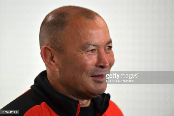 England's head coach Eddie Jones getures during a press conference at Twickenham Stadium in southwest London on November 17 ahead of the autumn...