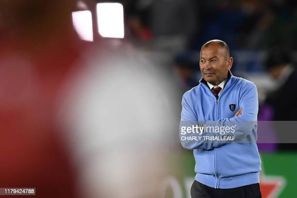 England's head coach Eddie Jones looks on before the Japan 2019 Rugby World Cup final match between England and South Africa at the International...