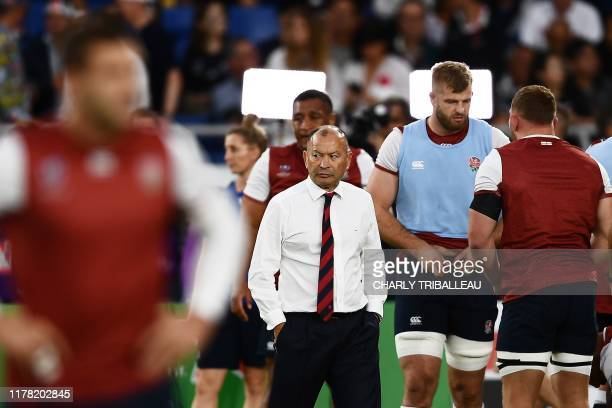England's head coach Eddie Jones reacts before the Japan 2019 Rugby World Cup semifinal match between England and New Zealand at the International...