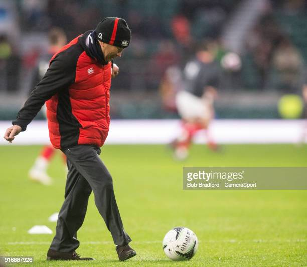 Englands' Head Coach Eddie Jones shows his football skills during the NatWest Six Nations Championship match between England and Wales at Twickenham...