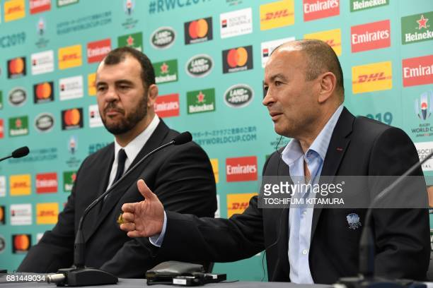 England's head coach Eddie Jones speaks beside Australia's head coach Michael Cheika during their press conference following the Rugby World Cup...