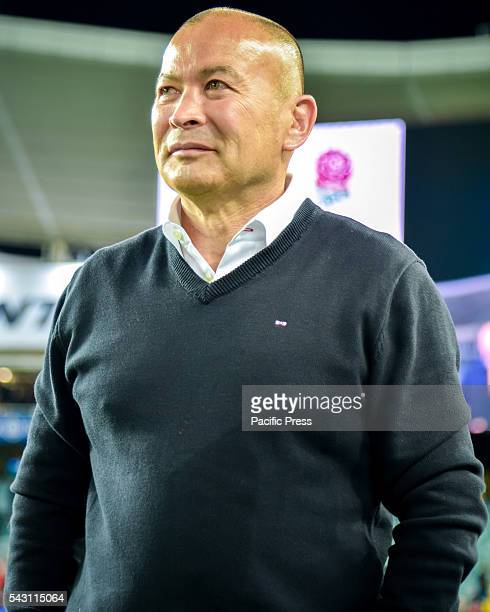 England's head coach Eddie Jones watches on as England celebrates the victory over Australia in the third and final rugby union Test match England...
