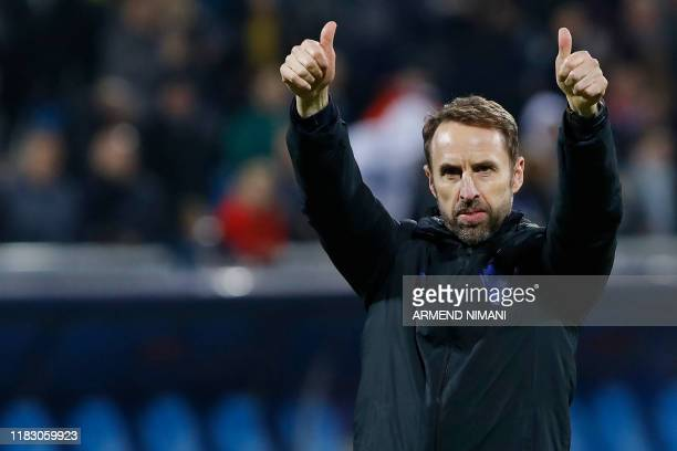 England's head coach Gareth Southgate gives a thumbs up after the UEFA Euro 2020 qualifying Group A football match between Kosovo and England at the...
