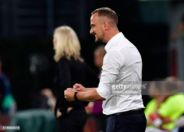 England's head coach Mark Sampson reacts after England scored during the UEFA Women's Euro 2017 football tournament match between England and...