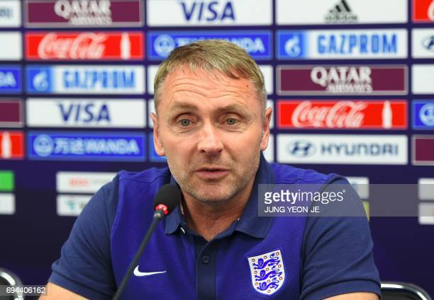 England's head coach Paul Simpson speaks during a press conference ahead of the U20 World Cup final football match between Venezuela and England in...