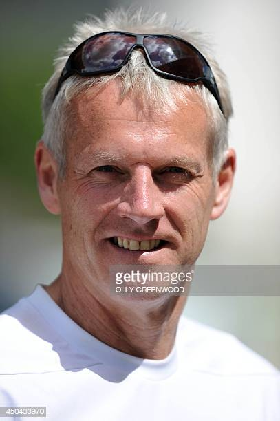 England's head coach Peter Moores attends a practice session at Lords cricket ground in London on June 11, 2014 ahead of the first Test match between...