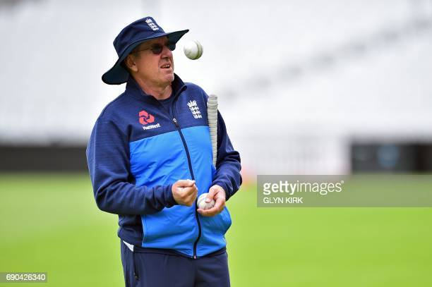 England's Head Coach Trevor Bayliss attends their nets practice session at The Oval in London on May 31 on the eve of their ICC Champions Trophy...