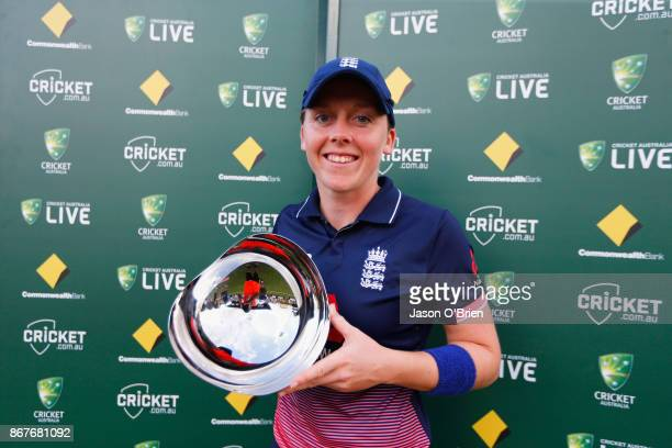 England's Heather Knight celebrates with the player of the match award during the Women's International One Day match between Australia and England...
