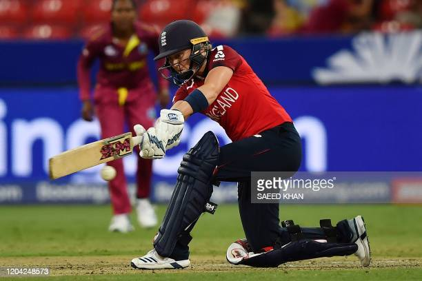 England's Heather Knight plays a shot during the Twenty20 women's World Cup cricket match between England and the West Indies in Sydney on March 1...