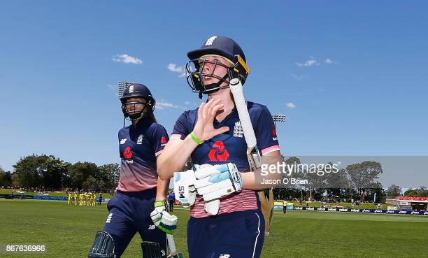 England's Heather Knight walks off unbeaten during the Women's International One Day match between Australia and England on October 29 2017 in Coffs...