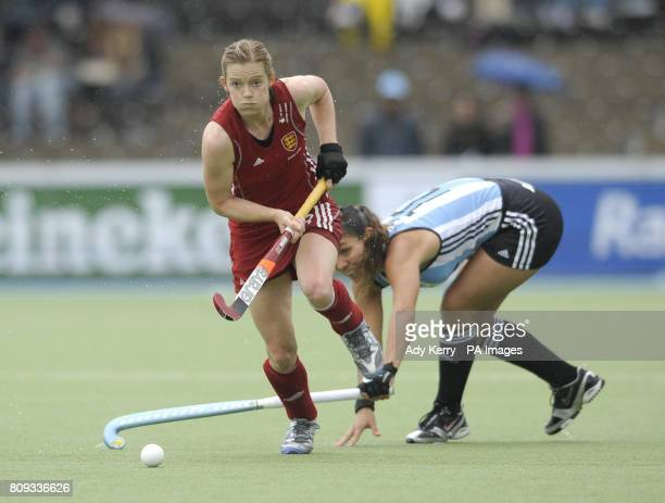 England's Helen Richardson challenges with Argentina's Augustina Soledad Garcia during their match in the Rabo FIH Women's Champions Trophy at the...