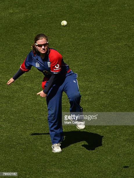 England's Holly Colvin sends down a a warmup delivery during the Women's One Day International match between the Australian Southern Stars and...
