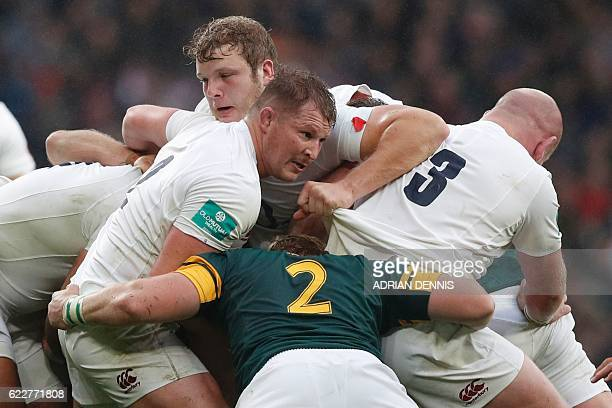 TOPSHOT England's hooker Dylan Hartley mauls during the rugby union test match between England and South Africa at Twickenham stadium in southwest...
