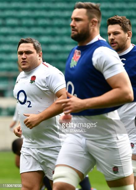 England's hooker Jamie George attends the captain's run training session at Twickenham stadium in south west London on March 15 on the eve of their...