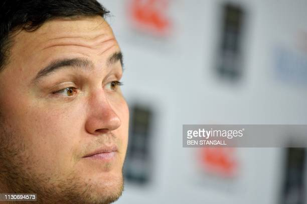 England's hooker Jamie George speaks during a press conference at Twickenham stadium in south west London on March 15 on the eve of their Six Nations...