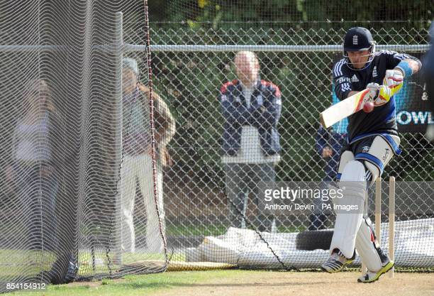 England's Ian Bell bats during a nets practice session at the University Oval Dunedin New Zealand