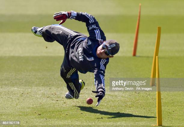 England's Ian Bell catches during a practice session at the Basin Reserve Wellington New Zealand