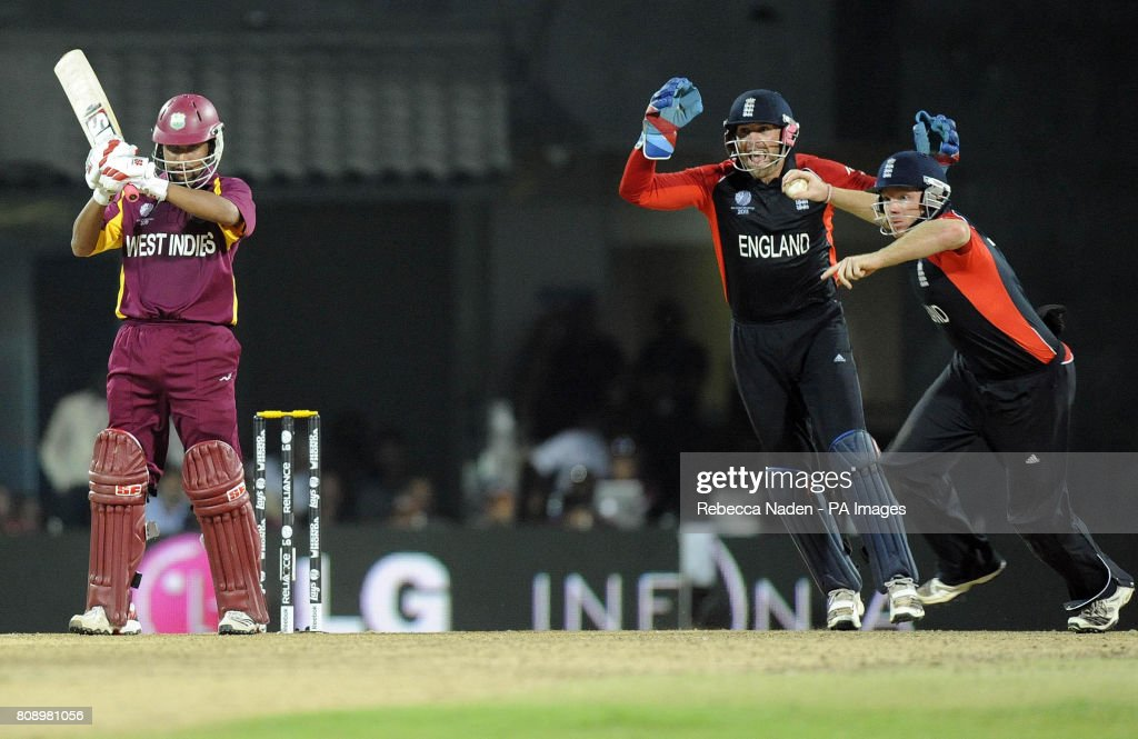 England's Ian Bell catches out West Indies' Ramnaresh Sarwan