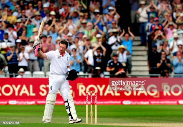 England's Ian Bell celebrates a century during the second npower test match at Trent Bridge, Nottingham.