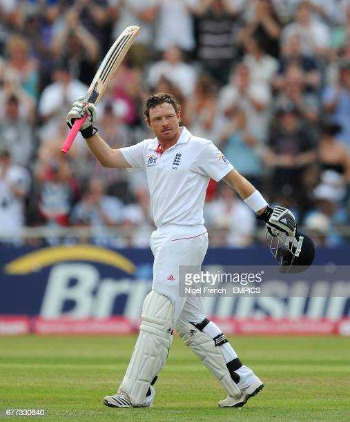 England's Ian Bell celebrates after reaching his century against India.