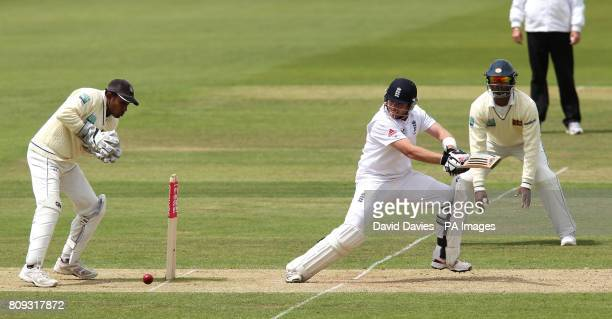 England's Ian Bell his past Sri Lankan wicketkeeper Prasanna Jayawardene during the Third Test at the Rose Bowl Southampton