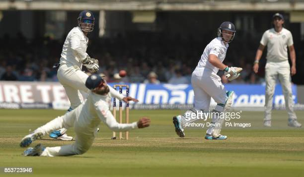 England's Ian Bell hits a shot past India's Ravindra Jadeja during day two of the second test at Lord's Cricket Ground London
