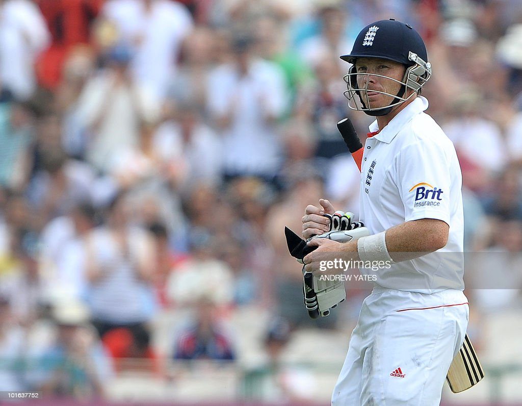 England's Ian Bell leaves the field after losing his wicket for 128 during the second day of the second Test match against Bangladesh at Old Trafford in Manchester, north-west England on June 4 2010.