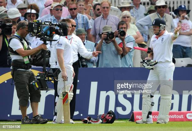 England's Ian Bell shows his frustration after being run out just before tee against India.