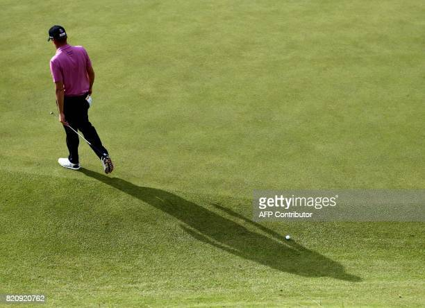 TOPSHOT England's Ian Poulter on the 12th green during his third round on day three of the Open Golf Championship at Royal Birkdale golf course near...