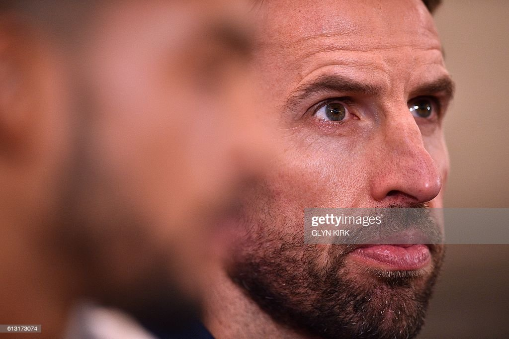 England's Interim manager Gareth Southgate attends a press conference at Sopwell House hotel, north of London on October 7, 2016, ahead of England's 2018 World Cup qualifying football match against Malta on October 8. England will hope to erase the lingering stain of Sam Allardyce's embarrassing exit when interim manager Gareth Southgate takes charge for the first time in Saturday's World Cup qualifier against Malta. / AFP / Glyn KIRK / NOT
