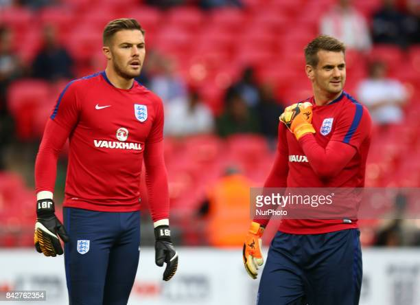 LR England's Jack Butland and England's Tom Heaton during the prematch warmup during World Cup Qualifying European Group F match between England and...