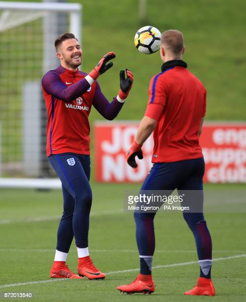 England's Jack Butland and Joe Hart during a training session at St George's Park Burton