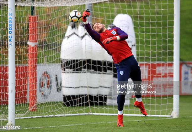 England's Jack Butland during a training session at St George's Park Burton