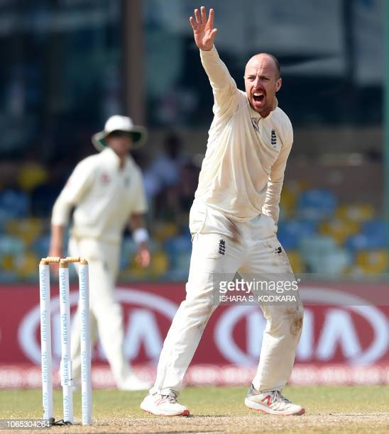 England's Jack Leach appeals unsuccessfully for a leg before wicket decision against Sri Lanka's Roshen Silva during the fourth day of the third Test...