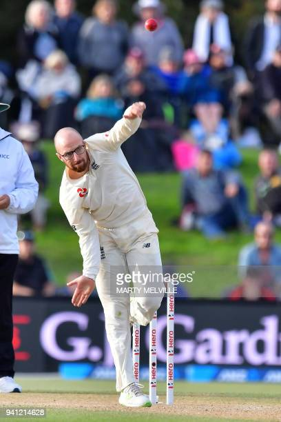 England's Jack Leach bowls during day five of the second cricket Test match between New Zealand and England at Hagley Oval in Christchurch on April 3...