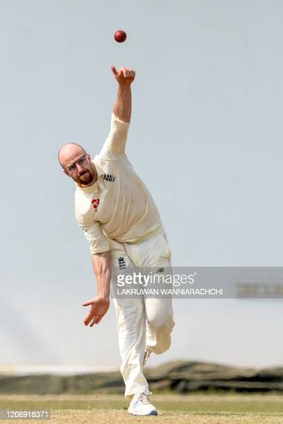 England's Jack Leach delivers the ball during the second day of a four-day practice match between Sri Lanka Board President's XI and England at the...