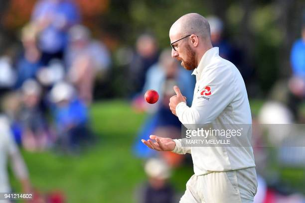 England's Jack Leach prepares to bowl during day five of the second cricket Test match between New Zealand and England at Hagley Oval in Christchurch...