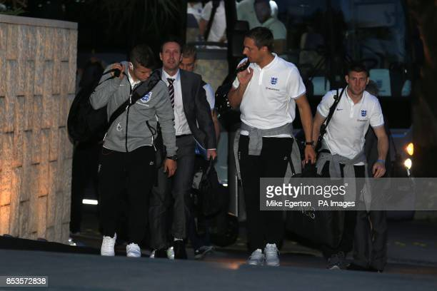 England's Jack Wiltshere Phil Jagielka and James Milner arrive at the Mandarin Oriental Hotel in Miami USA