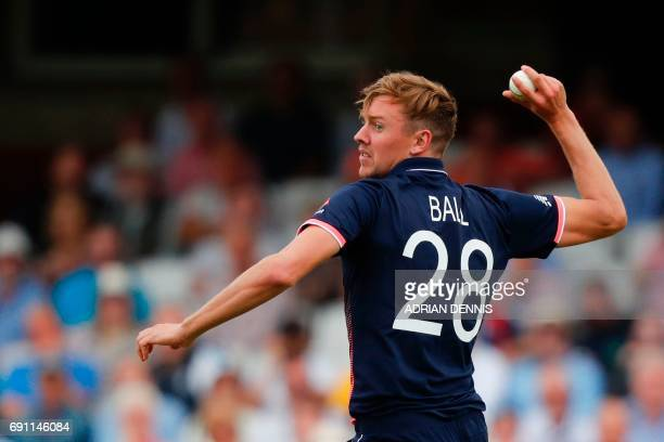 England's Jake Ball fields during the ICC Champions trophy cricket match between England and Bangladesh at The Oval in London on June 1 2017 / AFP...