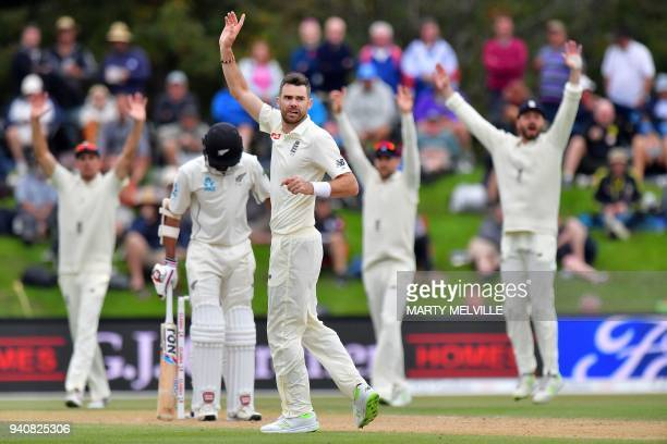 England's James Anderson appeals for a LBW call on New Zealand's Jeet Raval during day four of the second cricket Test match between New Zealand and...
