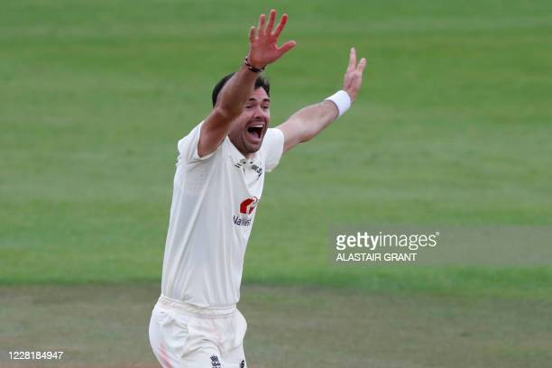 England's James Anderson appeals successfully for a LBW decision against Pakistan's Abid Ali, his 599th wicket in test cricket on the fourth day of...
