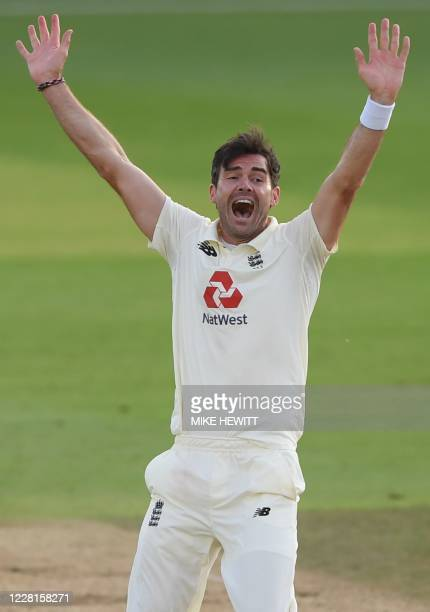 England's James Anderson appeals successfully for the wicket of Pakistan's Babar Azam on the second day of the third Test cricket match between...