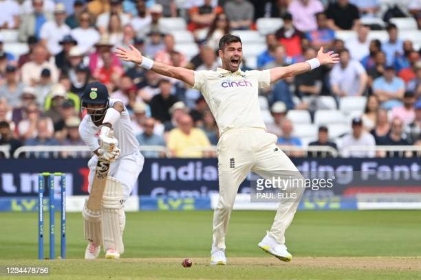 England's James Anderson appeals unsuccessfully for the wicket of India's KL Rahul on the second day of the first cricket Test match of the India...