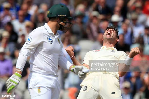 England's James Anderson celebrates after bowling South Africa's Dean Elgar for a duck on the second day of the fourth Test match between England and...